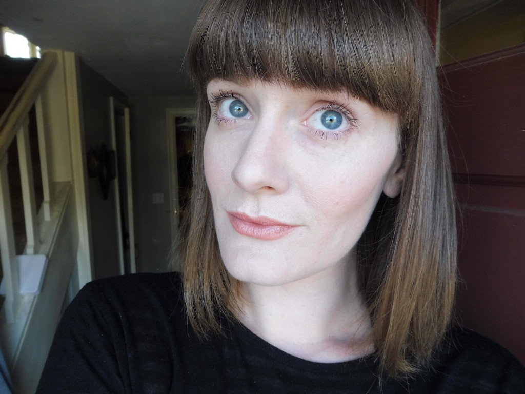 wearing glamnatural cream blush in barely there