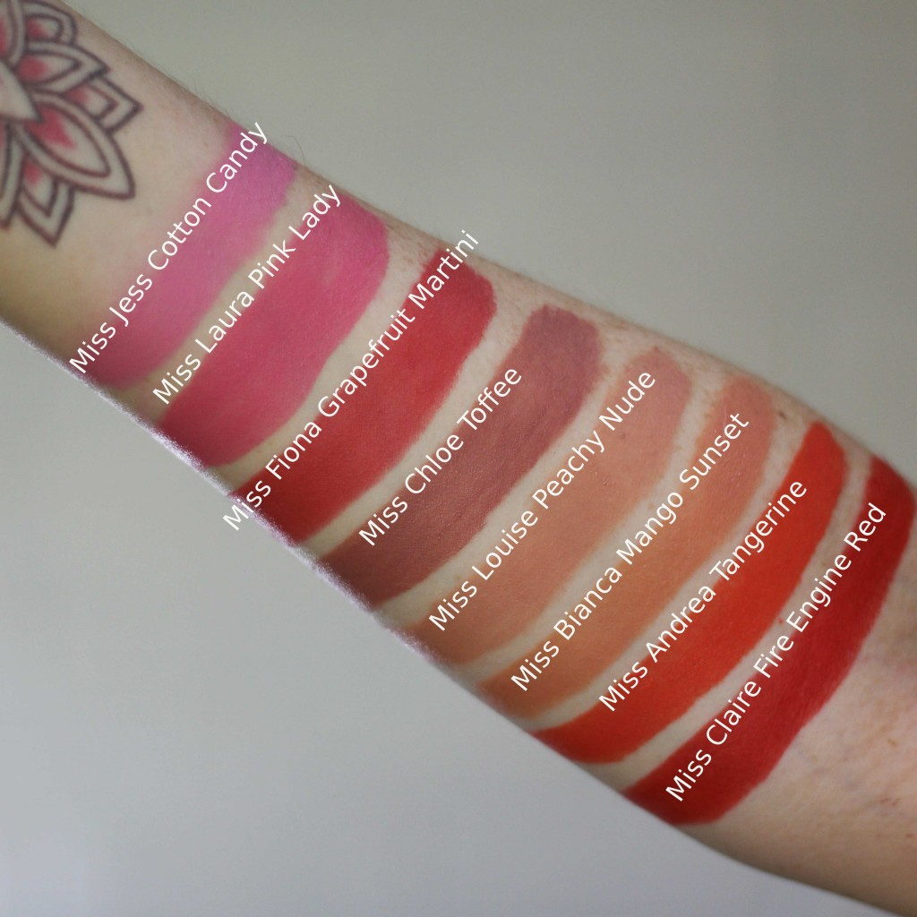 swatches of the entire cocktails at sunset collection ss16/17