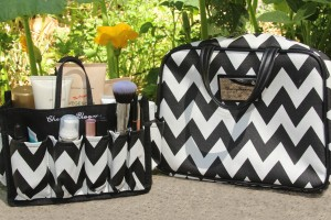 cherry blooms chevron beauty organiser
